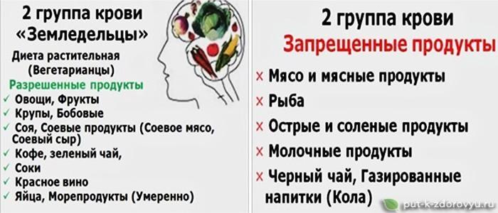 Питание по группе крови 2