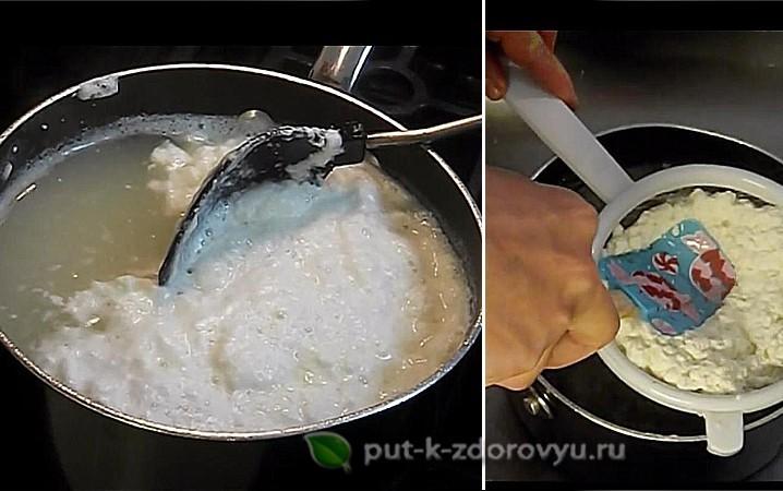 Приготовление творога из молока и лимона