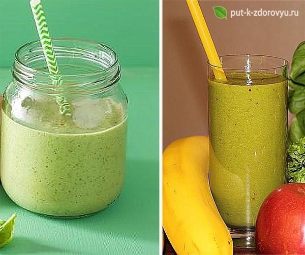 Зелёный коктейль с бананом