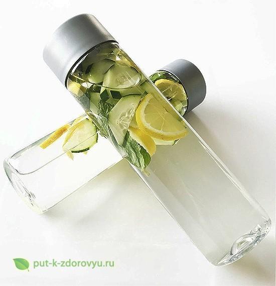 Рецепт лимонной воды с огурцом