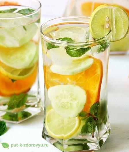 Вкусная вода с цитрусовыми и огурцом для омоложения кожи.