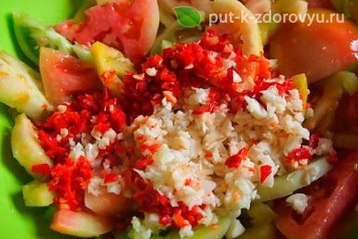 Острая закуска из помидорзеленыхс чесноком для хранения в холодильнике. Инструкция по приготовлению 1