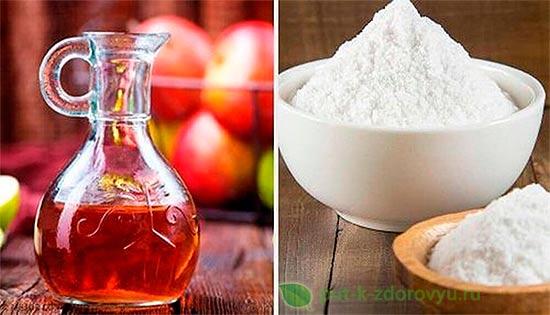 Лечебная сода и яблочный уксус.