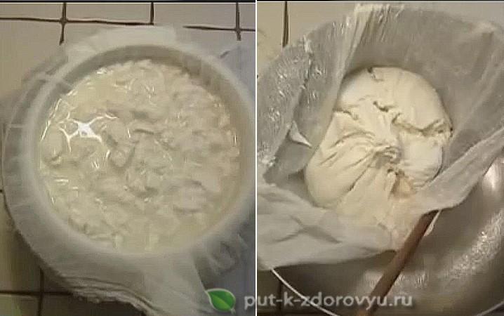 Приготовление творога из кефира и молока