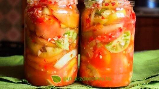 Острая закуска из помидорзеленыхс чесноком для хранения в холодильнике. Инструкция по приготовлению 2