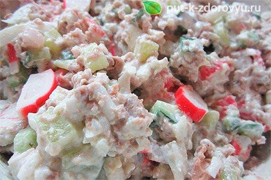 Рецепты с печенью трескии крабовым мясом или крабовыми палочками.