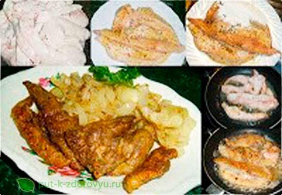 Жареная рыбья печень. Описание процесса приготовления.