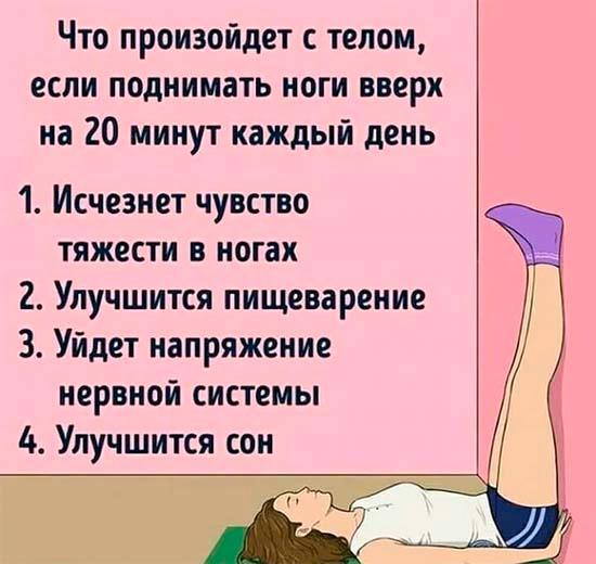 Польза для здоровья от подъёма ног.